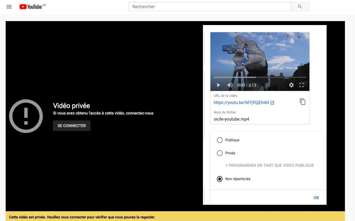 Publier sur YouTube sa vidéo de voyage en mode privé ou non-répertorié